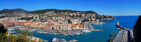 Aerial view City of Nice in France, beautiful panoramic view above Port of Nice on French Riviera