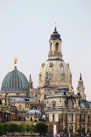 The ancient city of Dresden, view of Frauenkirche and Academy of Fine Arts,  Saxony, Germany Editorial