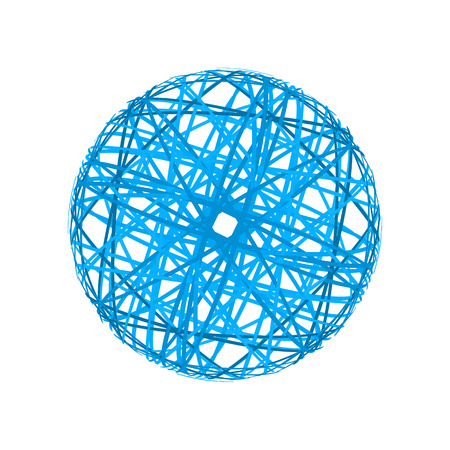 Abstract sphere from blue lines on white background
