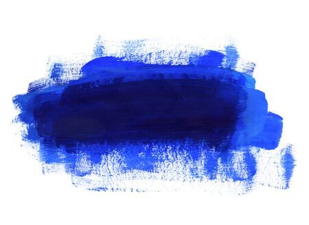 Bright blue and dark blue paint texture on white background for design, space for text, hand drawn  Banco de Imagens