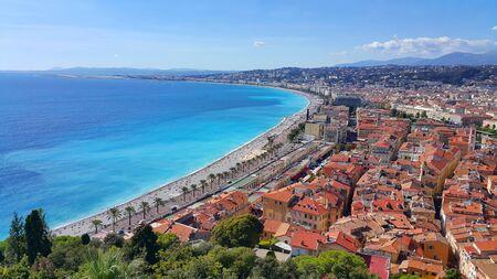 Panorama of Nice city, Promenade des Anglais, Cote d'Azur, French riviera, Mediterranean sea, France Foto de archivo