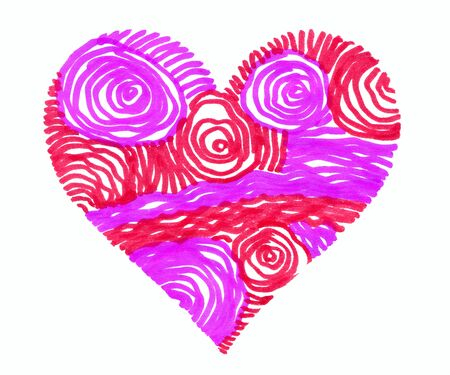Abstract bright colorful heart on white background, hand drawn