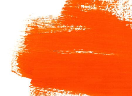 Bright orange paint texture on white background for design, space for text, hand drawn