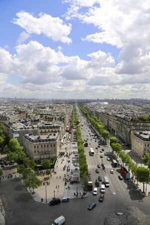 Beautiful panoramic view of Paris from the roof of the Triumphal Arch. View of the Elysian Fields.