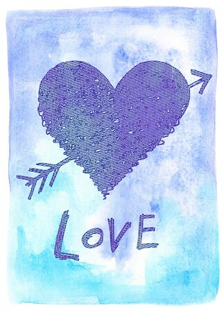 Abstract heart, symbol of love pierced by an arrow with word LOVE on blue watercolor background