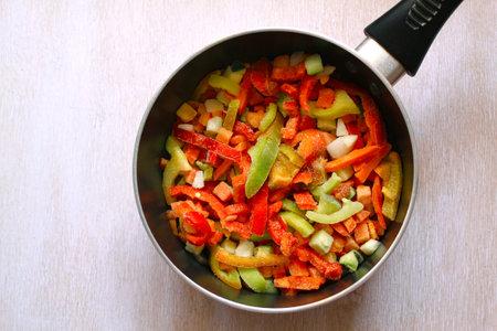 Assortment frozen vegetables in a saucepan, close-up Standard-Bild