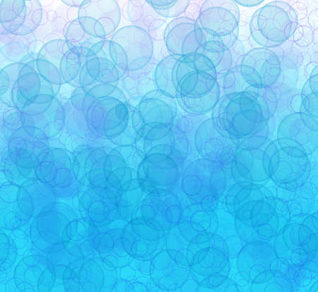 Abstract pattern of transparent different sizes bubbles on white and blue background
