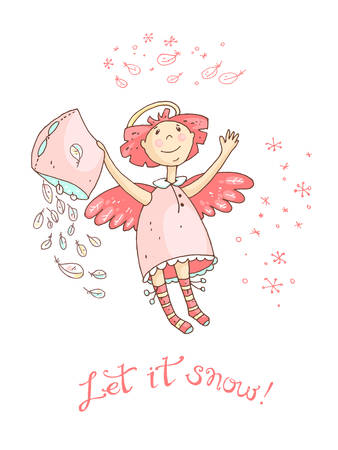 let it snow: Hand drawn vector Christmas and New Year card with the angel and snowfall. Let it snow Illustration