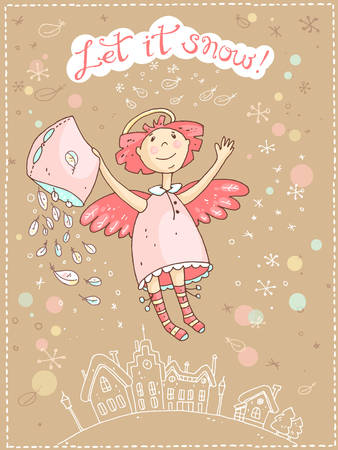 old and new: Hand drawn vector Christmas and New Year card with the angel and snowfall, winter morning and old town. Let it snow. Illustration