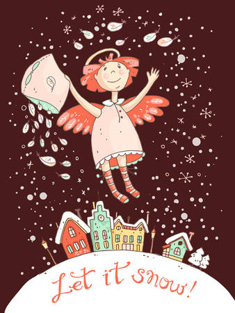 let it snow: Hand drawn vector Christmas and New Year card with the angel and snowfall, old town and Christmas night. Let it snow.