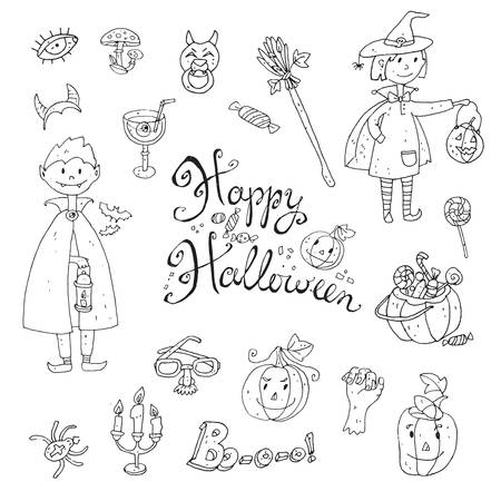 Hand drawn doodle vector collection of halloween elements: suits, characters, accessories, stickers, decorations. Cute kids style. Black and white.