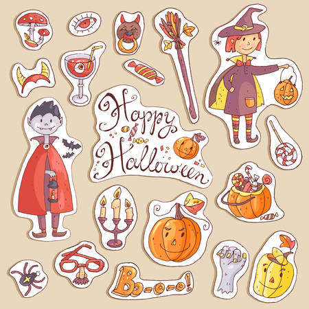 Hand drawn doodle vector collection of halloween elements: suits, characters, accessories, stickers, decorations. Cute kids style