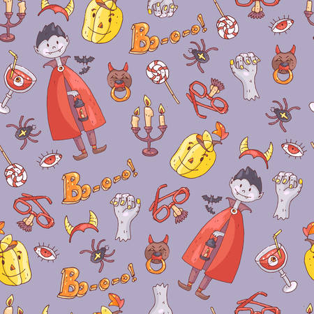 Hand drawn doodle vector seamless pattern with halloween elements: suits, characters, accessories, stickers, decorations. Cute kids style.