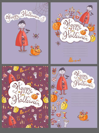 Hand drawn doodle vector halloween greeting cards with the vampire hand drawn doodle vector halloween greeting cards with the vampire the pumpkin zombie hand m4hsunfo