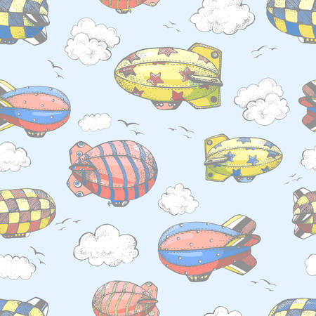 wallpapper: Hand drawn vector vintage seamless pattern with cute little airchips with strips, stars, dots and squares in the sky. Zeppelin, birds and clouds.