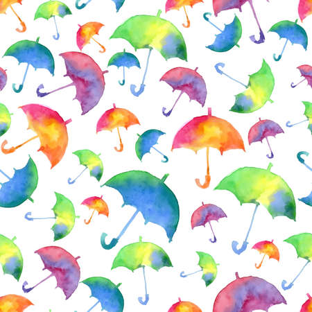 autumn fashion: Seamless pattern with fresh bright watercolor umbrellas. Autumn fashion illustration.