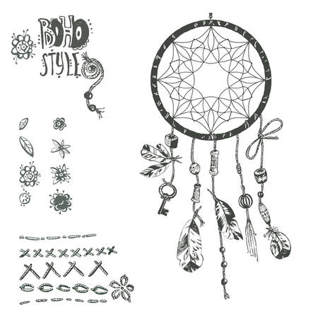 esoterics: Hand drawn vector Native American Indian talisman dreamcatcher with birds feathers and beads. Ethnic design, boho chic, tribal symbol. Collection of boho elements.