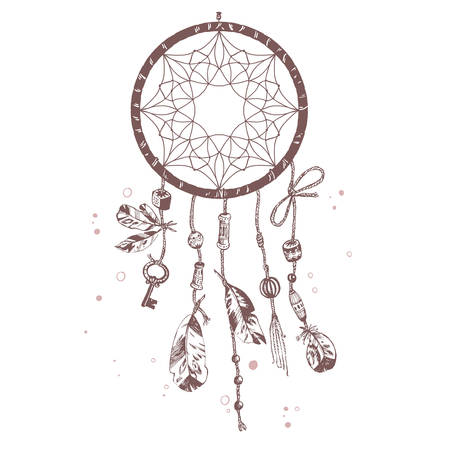 esoterics: Hand drawn vector Native American Indian talisman dreamcatcher with birds feathers and beads. Ethnic design, boho chic, tribal symbol. Isolated illustration.