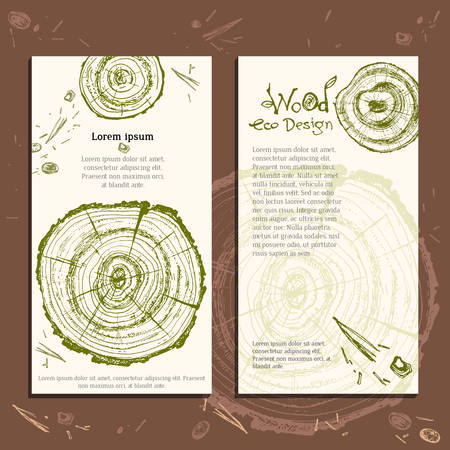 Hand drawn vector wooden slice. Pine tree. Organic modern ecological design. Natural green and brown colors template. Forest floor. Ready design. Vektorové ilustrace