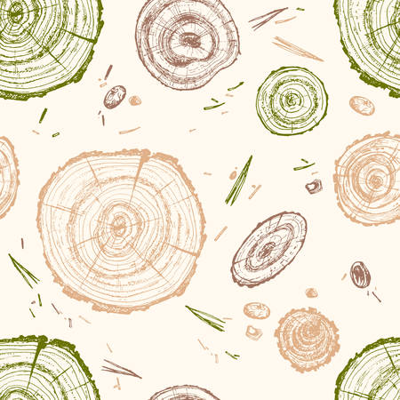Hand drawn vector wooden slice. Pine tree. Organic modern ecological design. Seamless pattern in natural green and brown colors. Forest floor. Illustration