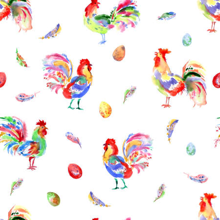 trabajo manual: Watercolor handwork bright festive roosters. New year symbol. Beautiful seamless pattern with birds, feathers and eggs.