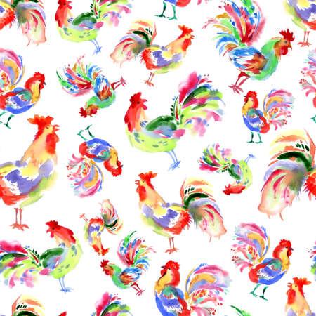 trabajo manual: Acuarela trabajo hecho a mano brillantes gallos festivas. símbolo de año nuevo. Modelo inconsútil hermoso con los pájaros. Foto de archivo