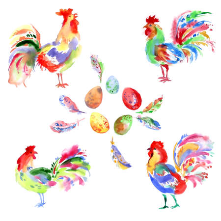 trabajo manual: Watercolor handwork bright festive roosters. New year symbol. Beautiful set of birds, feathers and eggs.