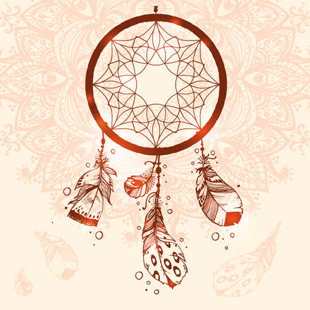 esoterics: Hand drawn vector Native American Indian talisman dreamcatcher with birds feathers.Mandala background, henna natural colors. Ethnic design, boho chic, tribal symbol. Illustration