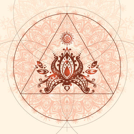 esoterics: Vector mandala with mathematical elements and lotus. Beautiful illustration for card or t-shirt. Sacred geometry ethnic indian decor element. Round ornament pattern.  Oriental motif. Illustration