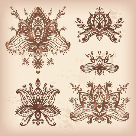 lotos: Vector hand drawn set of henna floral lotos elements based on traditional asian ornaments. Mehendi Tattoo Doodles collection, natural colors, meditation aura Illustration