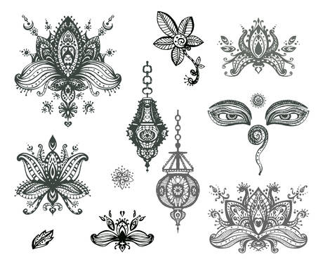 lotos: Vector hand drawn set of henna floral lotos elements, eyes and lanterns based on traditional asian ornaments. Mehendi Tattoo Doodles collection, monochrome, meditation aura