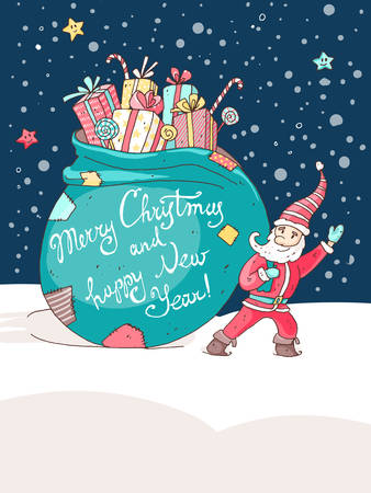 enano: Christmas and New Year vector greeting card. Little santa with the very big bag with gifts and candys. Vectores