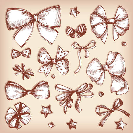 tradional: Vector hand drawn collection of lush bows and confetti. Vintage decoration for tradional holidays and gift boxes. Concept illustration.