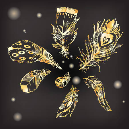 Hand drawn vector painted collection with bird feathers isolated on black background. Golden sparkling glamor set for your design. Trendy art deco style patterned elements, sketch, fashionable concept