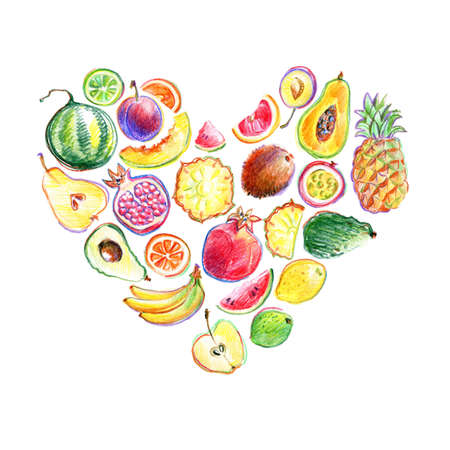 Heart composition with hand drawn by color pencil bright stylish fruits