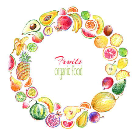 Round frame with hand drawn by color pencil bright stylish fruits