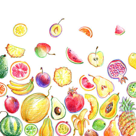 Background with hand drawn by color pencil bright stylish fruits