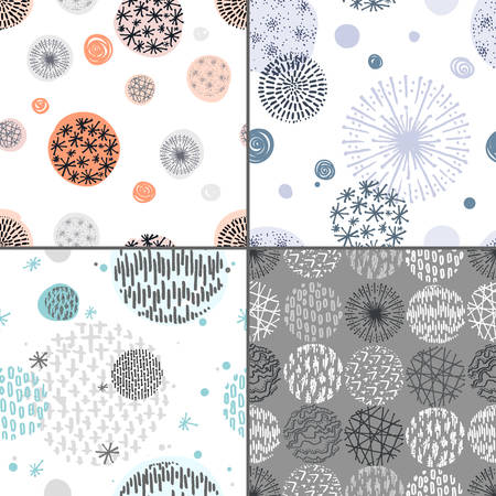 restrained: Collection of seamless patterns with hand drawn circle doodle stylish elements. Vector abstract illustration. Floral motifs, restrained colors Illustration