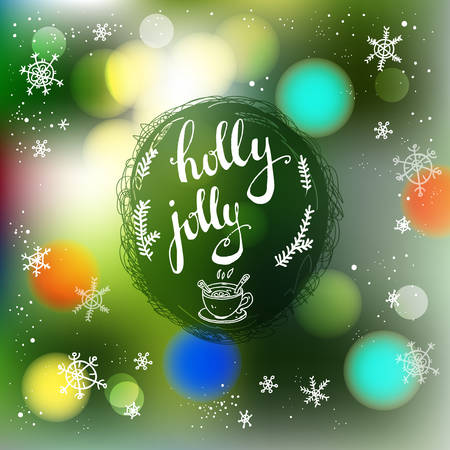 Vector blurred winter abstract background. Christmas tree backdrop. Greeting card with lettering holly jolly.