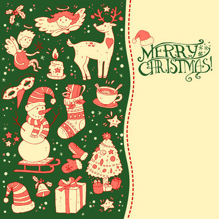 tea tree: Christmas greeting card template, vector Merry Christmas and New Year. Winter holiday design, frame design made of childish doodles:  deer, mittens, snowman, angel, cup, tea, sock, bell, tree Illustration