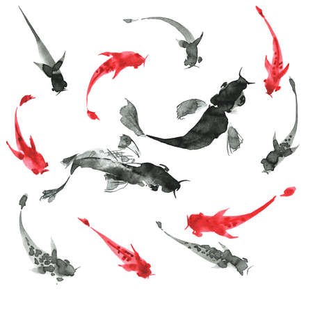 Sumi-e hand drawn ink fishes, black and white. Japan traditional style. Stock Photo