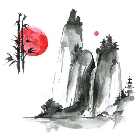 Hand gezeichnete Tinte sumi-e Elemente: landskype, Sonne, Bambus. Japan traditionellen minimalistischen Stil.