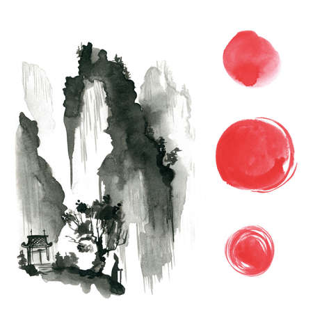 Hand drawn ink sumi-e elements: landskype, sun, temple, wanderer. Japan traditional minimalistic style