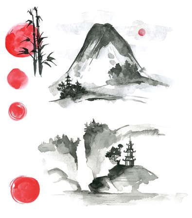 china watercolor paint: Hand drawn ink sumi-e elements: landskype, sun, temple, bamboo, Fuji. Japan traditional minimalistic style