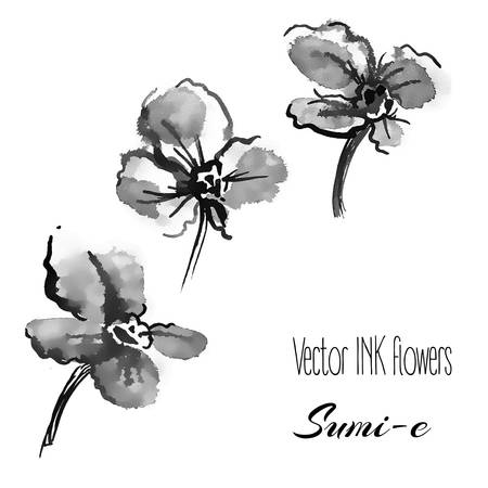 china watercolor paint: Vector hand drawn sumi-e traditional elements. violets and pansies Illustration