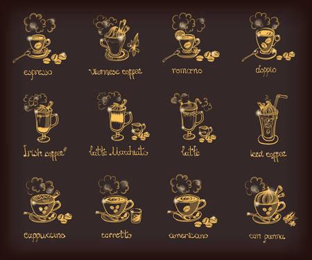 glace: Vector doodle set with different types of coffee: espresso viennese romano doppio irish, latte, macchiato, iced cuppuccino corretto americano con panna