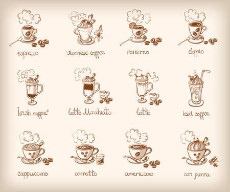 Vector doodle set with different types of coffee: espresso viennese romano doppio irish, latte, macchiato, iced cuppuccino corretto americano con panna
