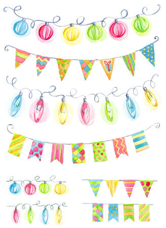 Festive  vintage watercolor garlands of flags and lights: red, blue, yellow, green