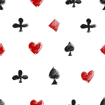 clubs diamonds: Seamless vector modern pattern with card suits: diamonds, hearts, clubs, spades. Black, red and white
