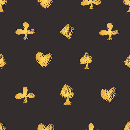 clubs diamonds: Seamless vector modern pattern with card suits: diamonds, hearts, clubs, spades. Gold in dark grey background